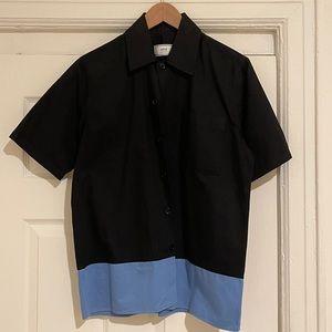 AMI Mens Black Shirt with Blue Trim